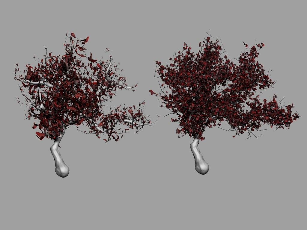 Ejemplo del efecto ByArea. En el árbol de la izquierda está activo a 0.5, en el de la derecha se desactiva.
