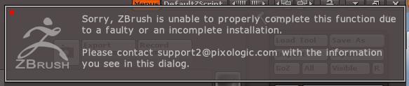 Mensaje que aparece antes del inevitable cuelgue de ZBrush.