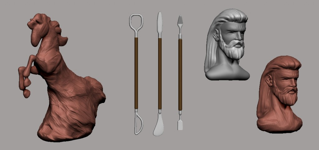 Algunos elementos esculpidos en DynaMesh.