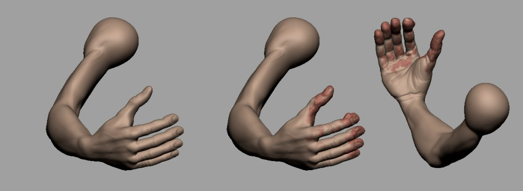 Detalle de las manos sin y con arcilla, mediante ClayBuildup.
