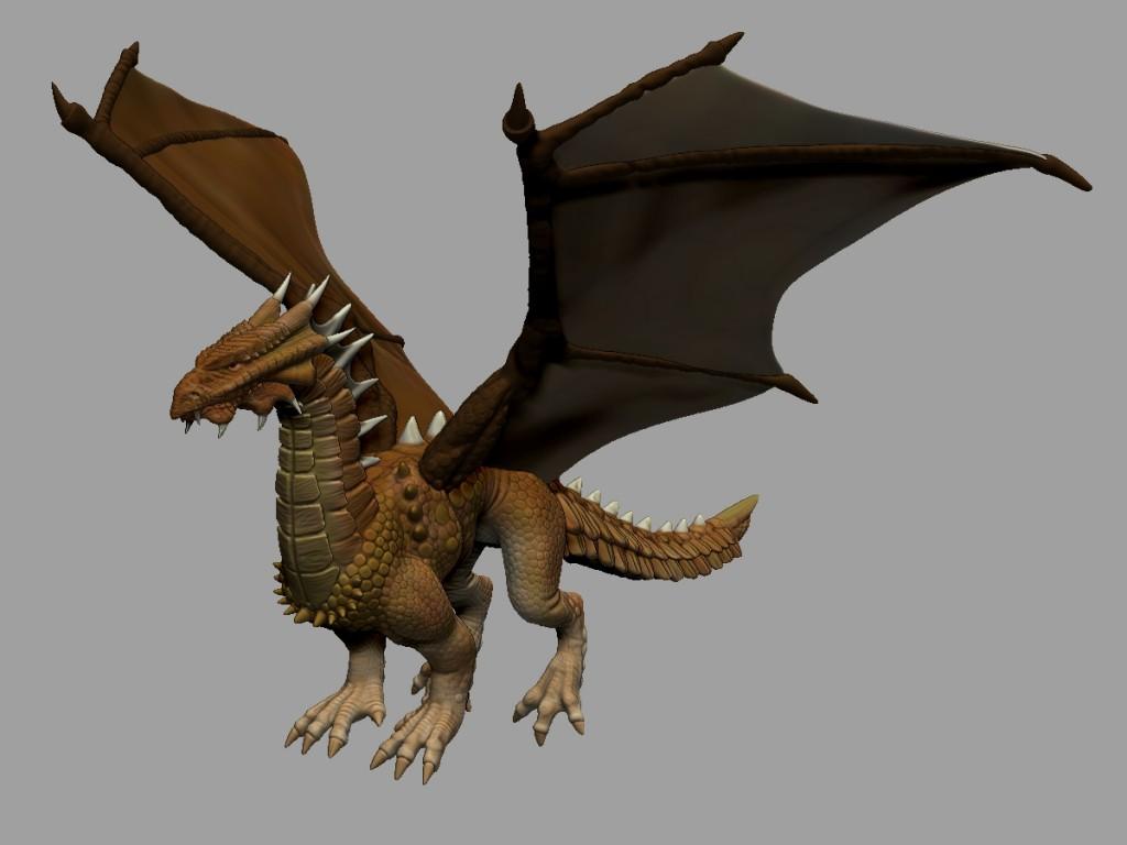 El dragón remallado y coloreado.