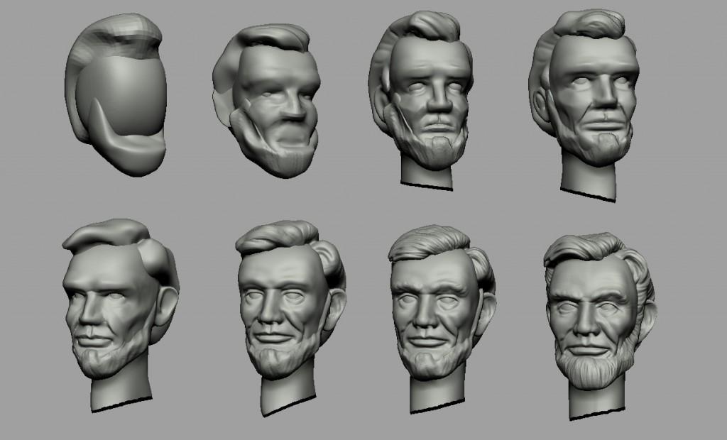Proceso de esculpido de la cabeza de Lincoln.