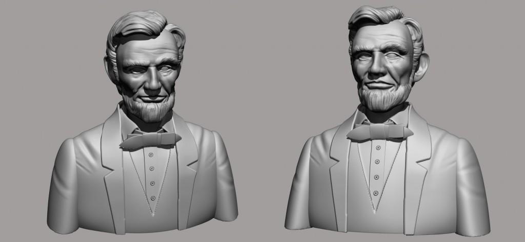Busto de Lincoln acabado.