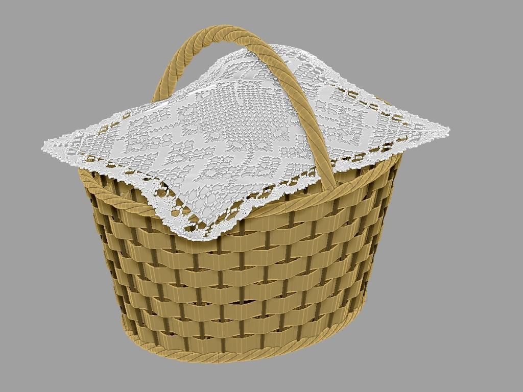 Detalle de la cesta y la tela (sí, la cesta está vacía!!)