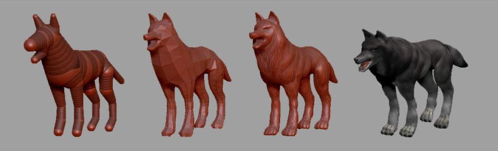 Escultura del lobo a partir de ZSpheres