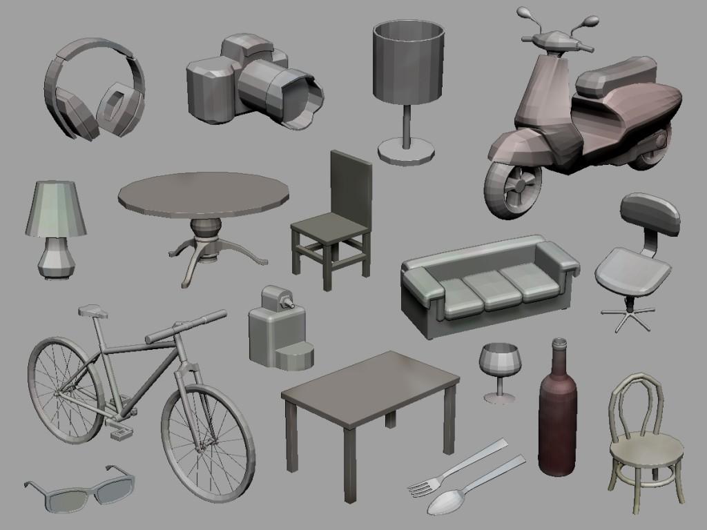 Algunos de los objetos incluidos en los pinceles Insert.