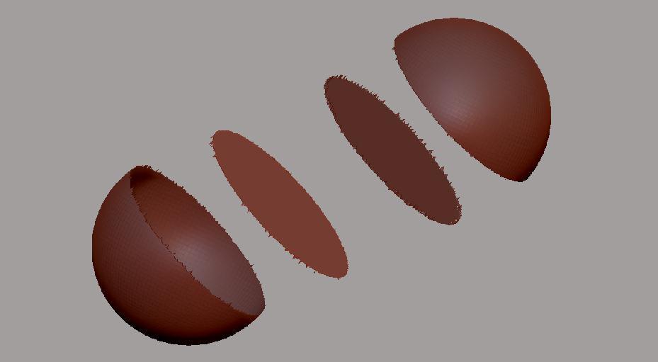Los cuatro poligrupos generados por el corte con Slice.
