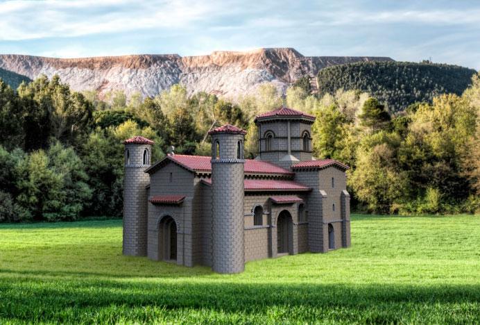 La iglesia en un idílico prado