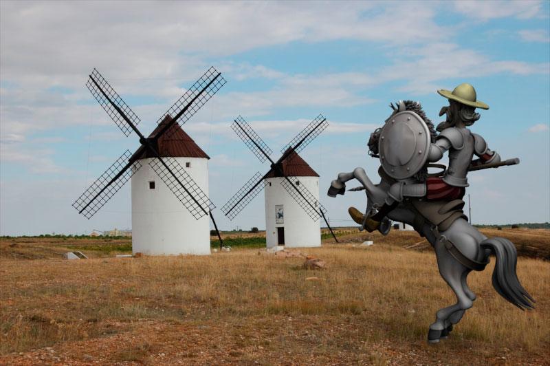 Añadimos un fondo coherente en KeyShot... Don Quijote a punto de atacar!!