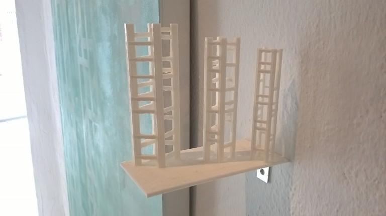 Un ejemplo de los elementos tridimensionales que superpuestos generan la imagen de un cuadro.